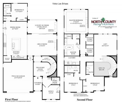 Las Brisas Floor Plan new homes in Carlsbad at Robertson Ranch