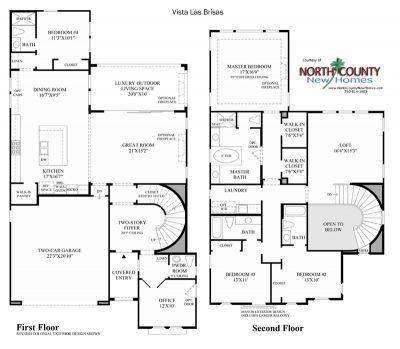 Las Brisas Floor Plan new homes in Carlsbad at Robertson Ranch
