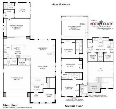 Montecina Floor Plan new homes in Carlsbad at Robertson Ranch
