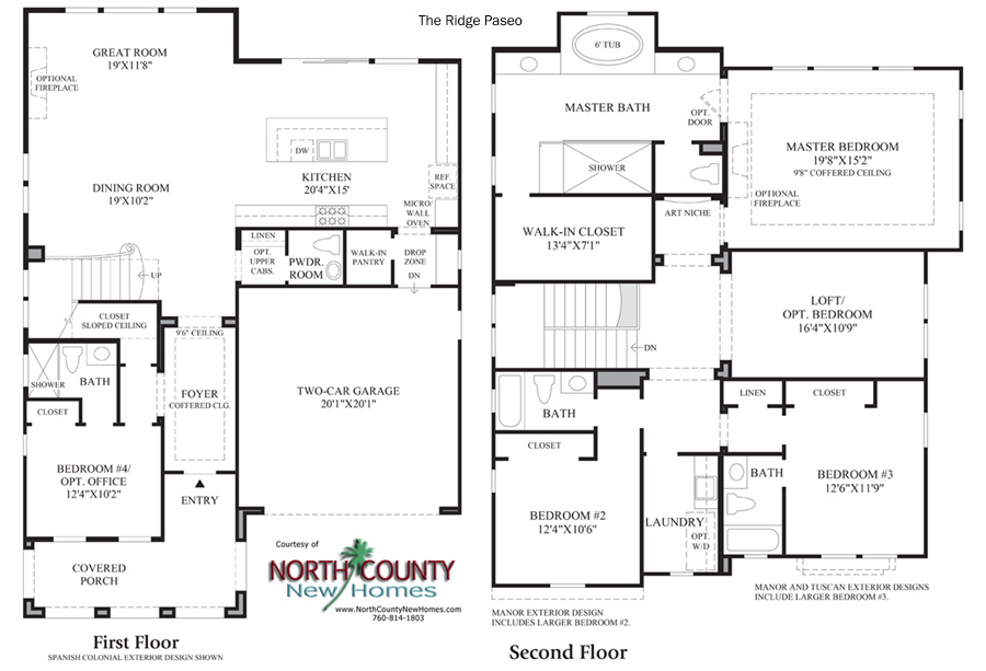 Paseo Floor Plan new homes in Carlsbad Ridge at Robertson Ranch