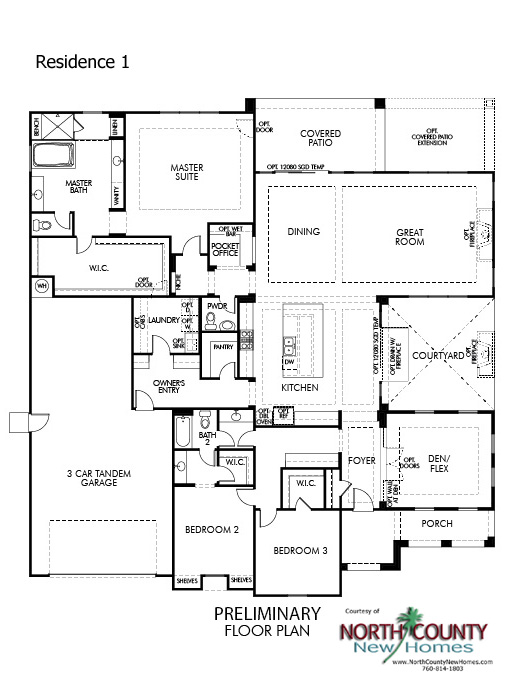 Quintessa floor Plans. New homes in Vista for sale. New single story homes. Floor Plan 1