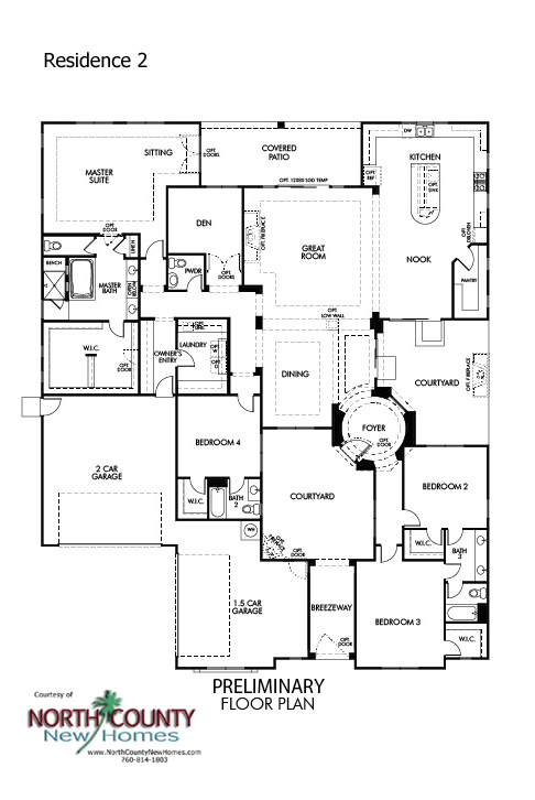 Quintessa floor Plans. New homes in Vista for sale. New single story homes. Floor Plan 2
