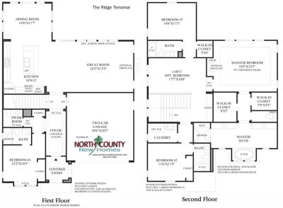 Terramar Floor Plan new homes in Carlsbad at Robertson Ranch