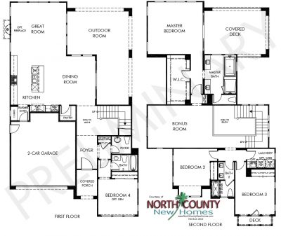 Portofino new homes in Pacific Highlands Ranch, Carmel Valley San Diego. Residence 1 floor plan.