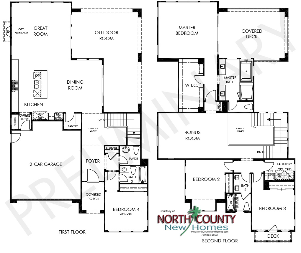 Portofino floor plans new homes in carmel valley for New ranch house plans