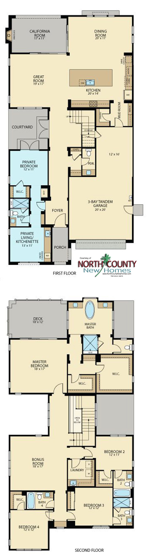 New homes in Carmel Valley, San Diego in Pacific Highlands Ranch at Sterling. Sterling new home floor plans. Residence 3