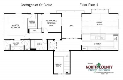 New homes in Oceanside. New townhomes at Cottages at St Cloud. Floor plan 1.