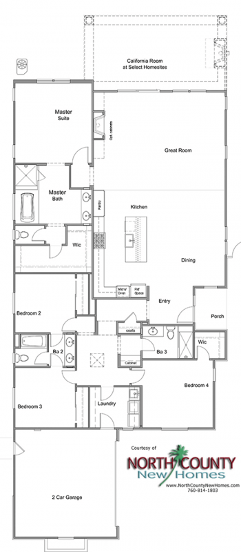 Floor Plan for Oceanside new homes. New construction homes. Near the coast. Plan 2487