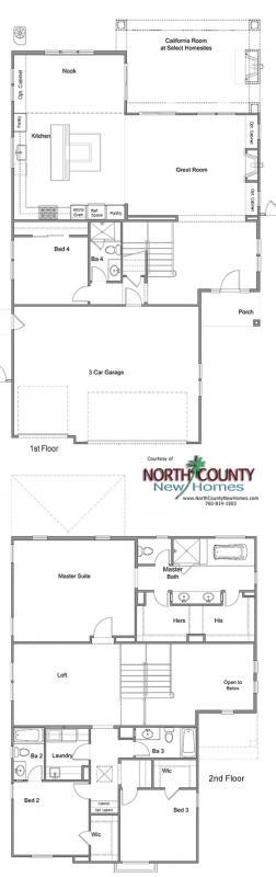 Floor Plan for Oceanside new homes. New construction homes. Near the coast. Plan 3020
