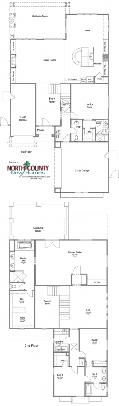 Floor Plan for Oceanside new homes. New construction homes. Near the coast. Plan 3307
