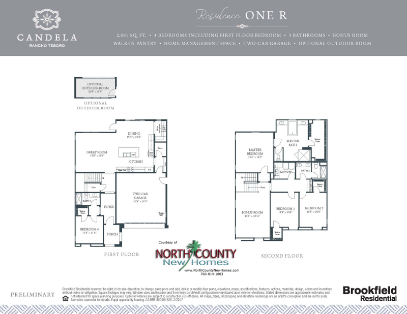 Candela new homes in San Marcos, CA floor plans. New construction homes and real estate for sale. single family new homes. Rancho Tesoro