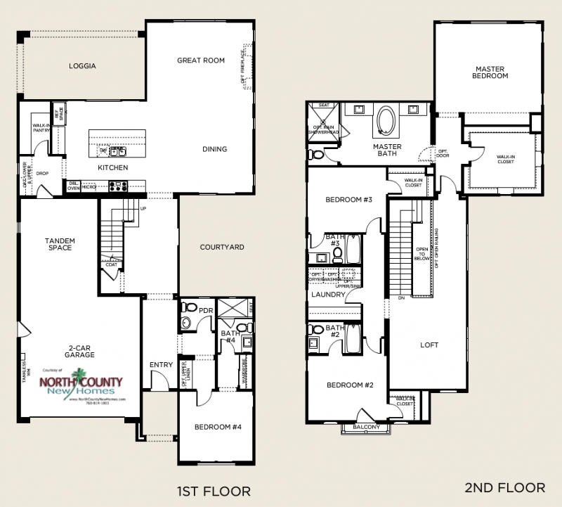 New 2-story single family homes in San Diego at Olvera. In Pacific Highlands Ranch Carmel Valley area. Floor Plans. Residence 3