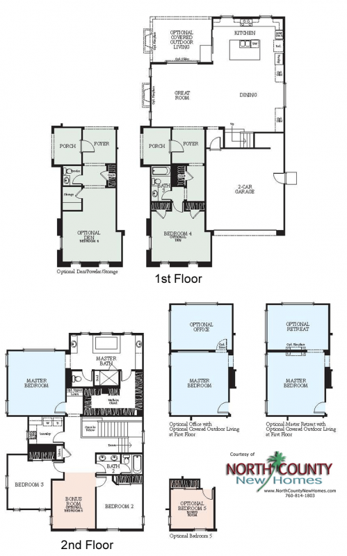 Westerly new homes in San Marcos, CA floor plans. New construction homes and real estate for sale. single family new homes. Rancho Tesoro