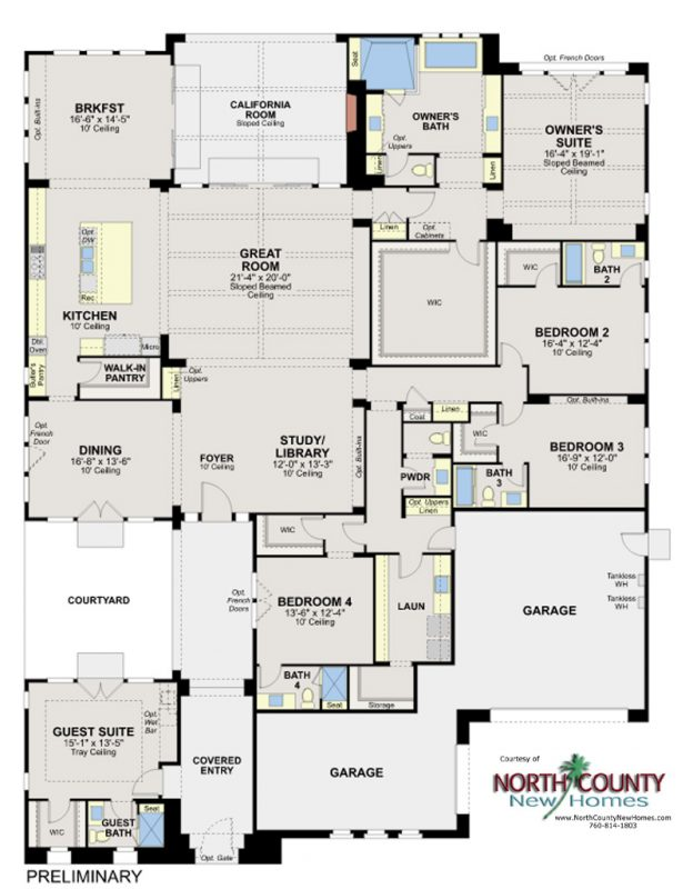 Artesian Estates new homes in Del Sur San Diego. New construction homes for sale. Floor Plan 2