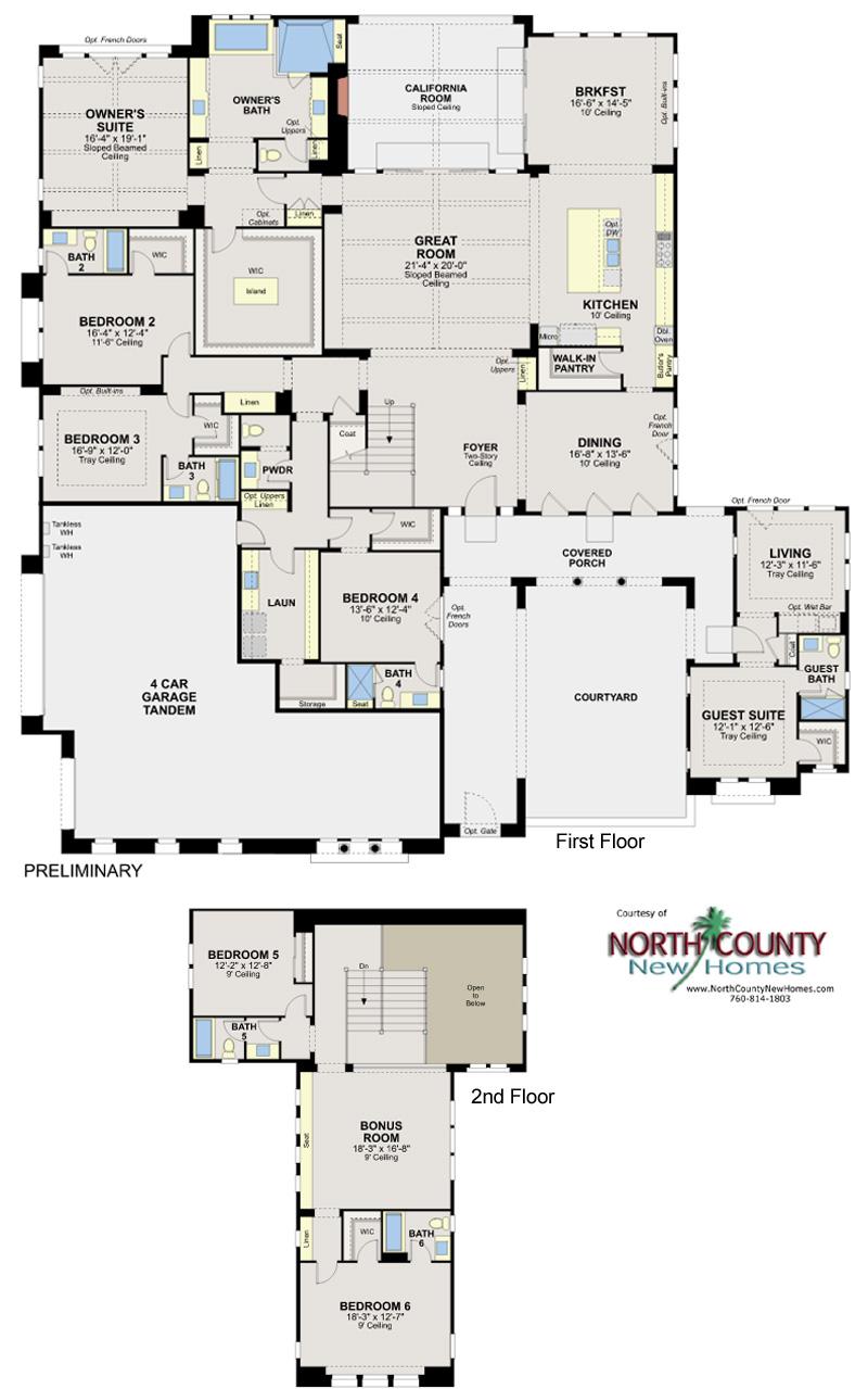 Artesian Estates new homes in Del Sur San Diego. New construction homes for sale. Floor Plan 2Y
