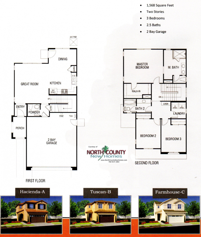 New homes in Fallbrook, CA. Chaparral Pointe at Horse Creek Ridge. New construction homes by DR Horton. Floor Plan