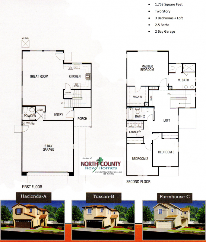 New homes in Fallbrook, CA. Chaparral Pointe at Horse Creek Ridge. New construction homes by DR Horton. Floor Plan 1753
