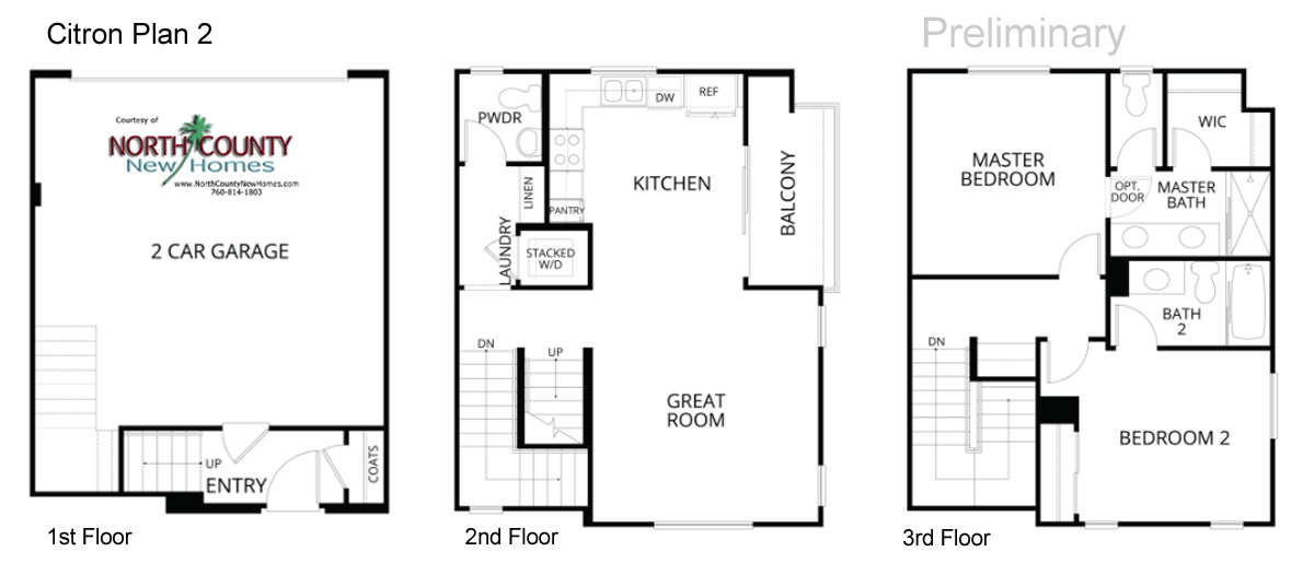 Citron floor plans new townhomes in escondido north for 3 story townhome plans