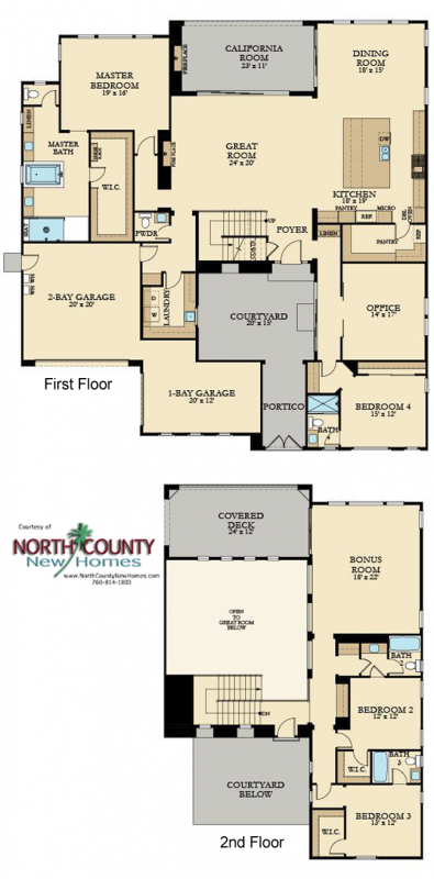 New Homes in San Marcos and San Elijo Hills - Crown point at the Estates and the Summit. New construction homes for sale in San Diego North County. Floor Plan 1