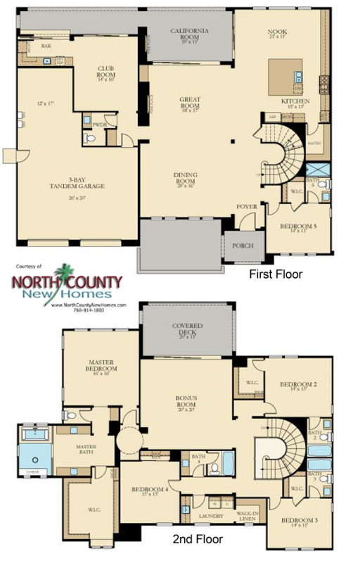 New Homes in San Marcos and San Elijo Hills - Crown point at the Estates and the Summit. New construction homes for sale in San Diego North County. Floor Plan 2