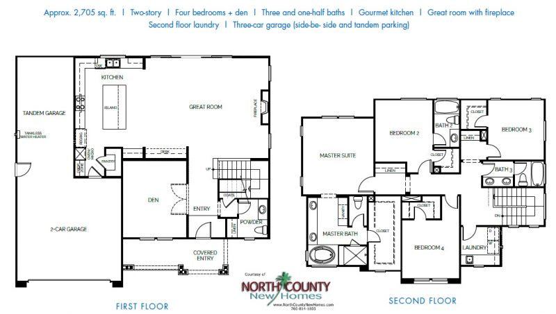 New homes in Encinitas at Laurel Cove. Floor plan. Single family new construction homes. One and two story. New homes in North County San Diego.