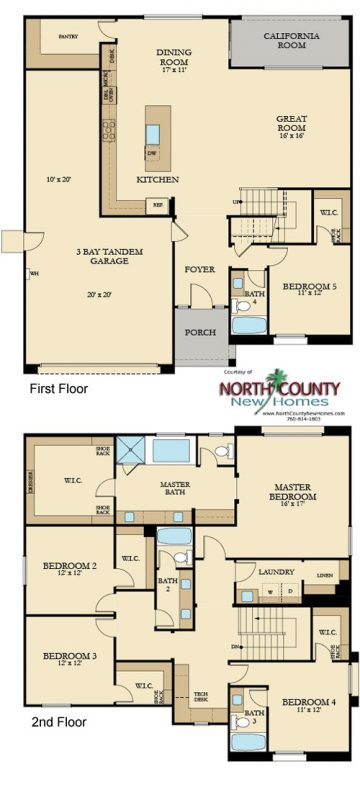 New homes in Vista, CA at Presidio. New construction single family homes. Floor plan 1