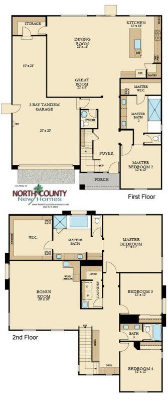 New homes in Vista, CA at Presidio. New construction single family homes. Floor plan 2