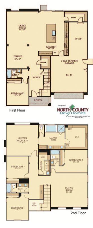 New homes in Vista, CA at Presidio. New construction single family homes. Floor plan 3