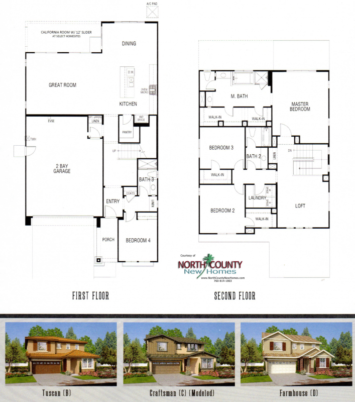 New homes in Fallbrook, CA. Westbuty at Horse Creek Ridge. New construction homes by DR Horton. Floor Plan