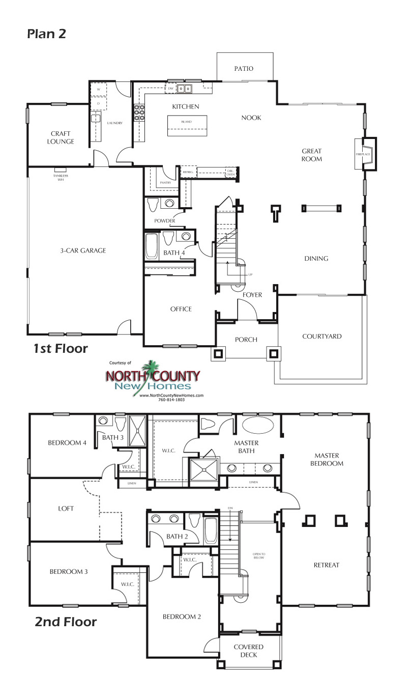 Floor Plan 2. New homes in Carlsbad, CA. New single story and two story homes near the beach. San Diego North County New Homes2