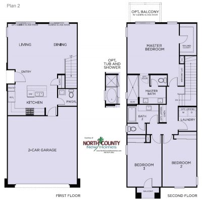 Floor plans for Blue Sage at The Preserve. New construction homes. New townhomes in Carlsbad, CA. North County San Diego new homes. Floor Plan 2