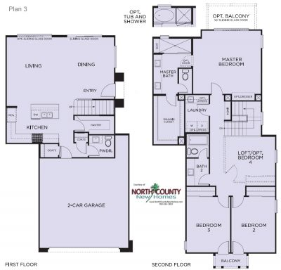 Floor plans for Blue Sage at The Preserve. New construction homes. New townhomes in Carlsbad, CA. North County San Diego new homes. Floor Plan 3