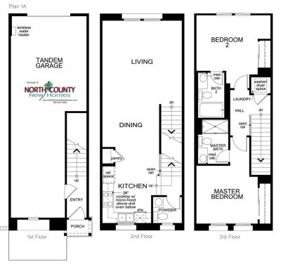 New townhomes in Pacific Highlands Ranch, Carmel Valley, San Diego, CA. New homes for sale. Laterra. Floor Plan 1A