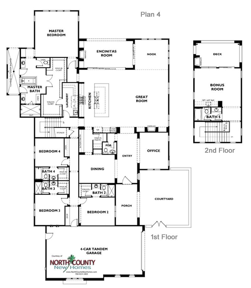One oak floor plan 4 encinitas new homes north county for Single floor homes for sale