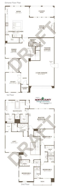 Floor Plans for Promontory at Horse Creek Ridge. New homes inn Fallbrook, CA. New construction homes