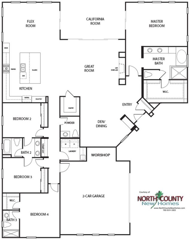 New homes in Escondido. Single family detached homes. 1 story new homes. New construction home in San Diego North County. Floor plan 2A