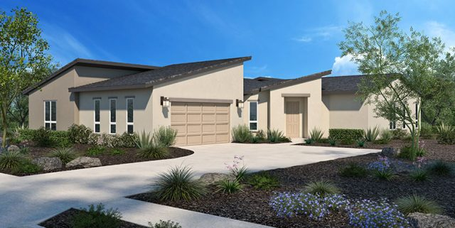 New homes in Escondido. Single family detached homes. 1 story new homes. New construction home in San Diego North County. Rendering