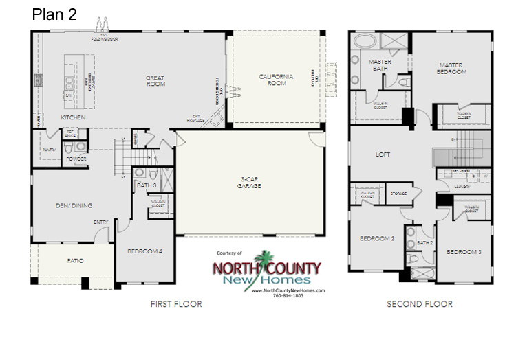 Single family new homes in Escondido California. North County San Diego. New construction one and 2 story new homes. Floor Plans