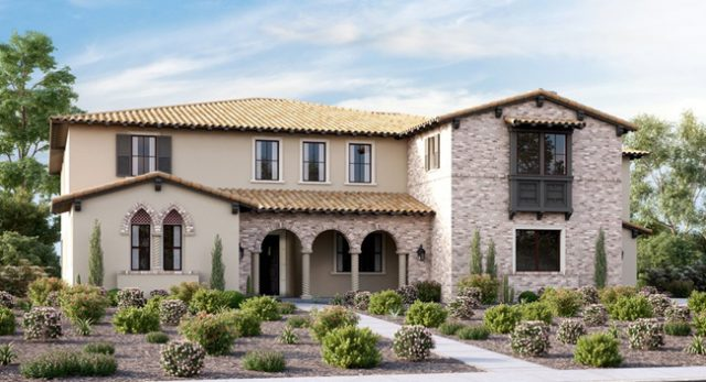 New homes in San Diego. Sterling Heights at The Lakes. Between Rancho Santa Fe, The Crosby and Del Sur. Gated community. One and two story new single family homes for sale.