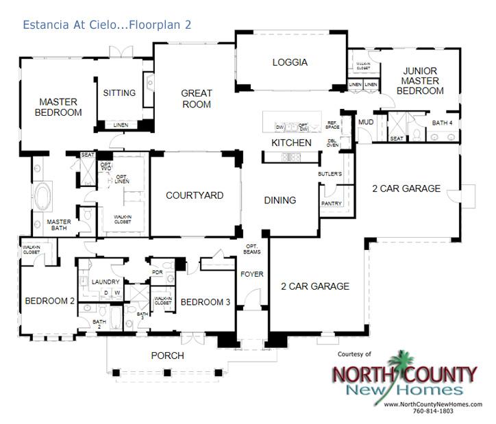 Estancia New Homes In Rancho Santa Fe Floor Plans North County New Homes