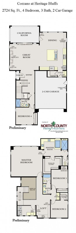 New homes in San Diego near Del Sur. 2-story single family homes at Corzano. Floor Plan 1