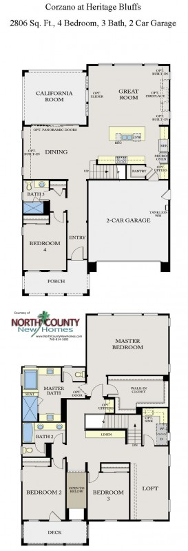 New homes in San Diego near Del Sur. 2-story single family homes at Corzano. Floor Plan 2