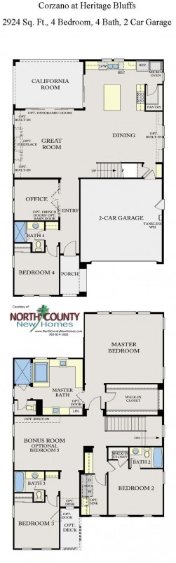 New homes in San Diego near Del Sur. 2-story single family homes at Corzano. Floor Plan 3