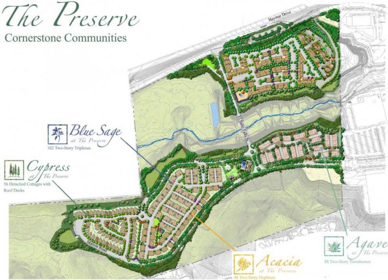 New homes and townhomes in Carlsbad at The Preserve. Site plan of communities.