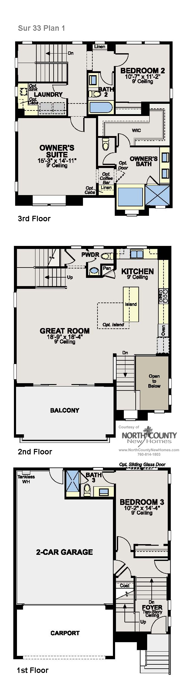 New homes in Del Sur, San Diego. New construction homes floor plans