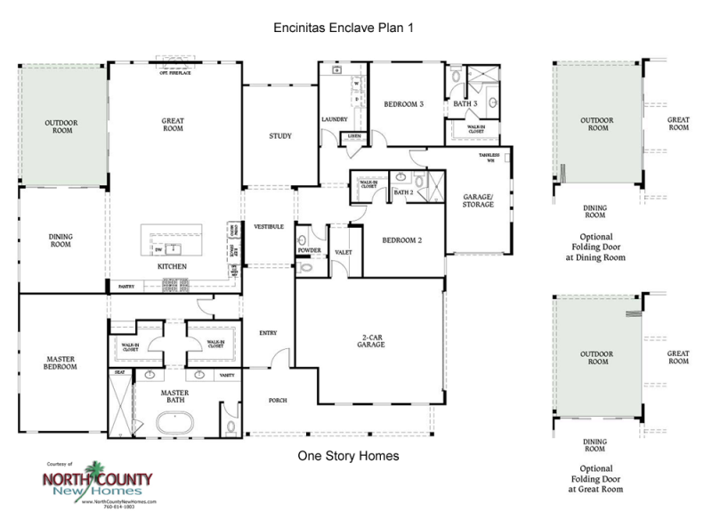 New homes in Encinitas at Encinitas Enclave. New construction homes for sale. One and two story single family homes in San Diego North County. Floor Plan 1