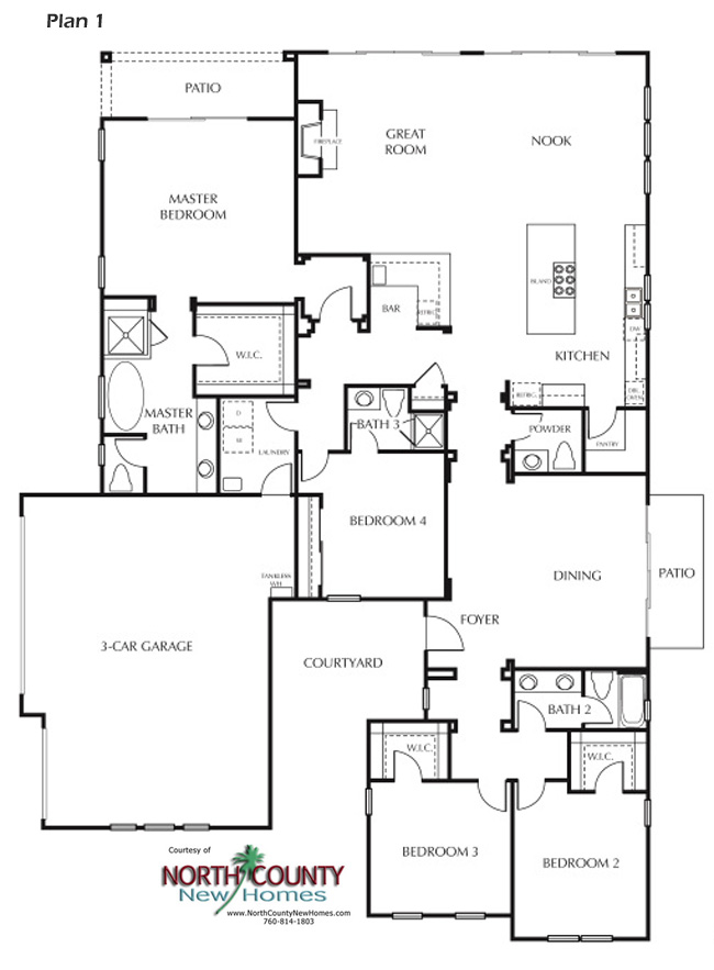 Floor Plan 1. New homes in Carlsbad, CA. New single story and two story homes near the beach. San Diego North County New Homes.