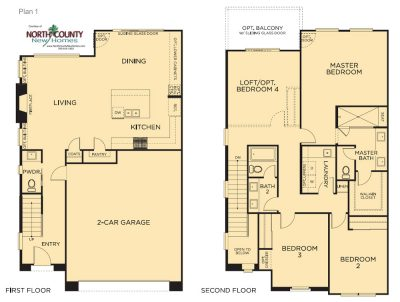 New homes in Carlsbad, CA. New townhomes for sale. Acacia at The Preserve. 2 story new townhomes located in San Diego North County. Floor Plans