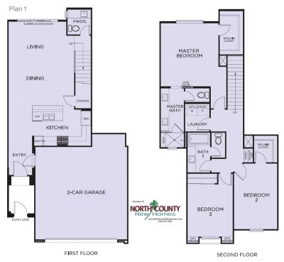 Floor plans for Blue Sage at The Preserve. New construction homes. New townhomes in Carlsbad, CA. North County San Diego new homes. Floor Plan 1