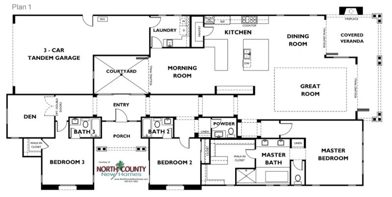 New single family homes in Carlsbad at Lanai II. One and two story homes for sale. New construction homes in San Diego North County. Floor Plans. Plan 1